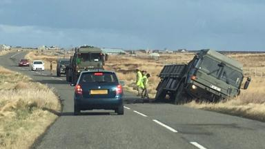 British Army vehicle crashed off road near Borve, Lewis, on March 2 2017. Used with permission