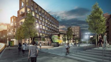 Artists impression of development at Fountainbridge gap site