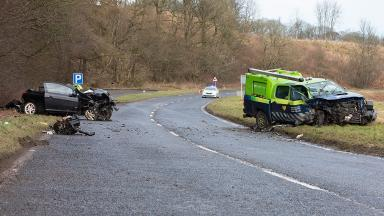 Car and SSE van crash near Fyvie, Aberdeenshire, in March 2017
