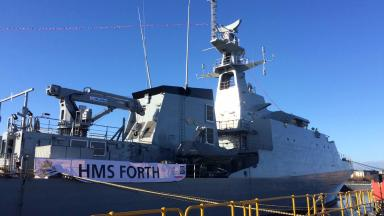 HMS Forth at official naming ceremony on the Clyde. March 9 2017.