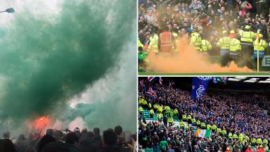 Smoke flares at Glasgow football Old Firm match on March 12 2017
