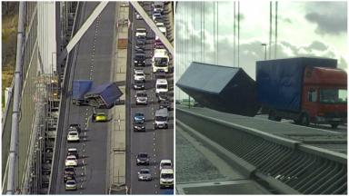 Toppled lorry on Forth Road Bridge collage. March 14 2017