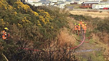 Large gorse fire being battled in Lossiemouth, Moray