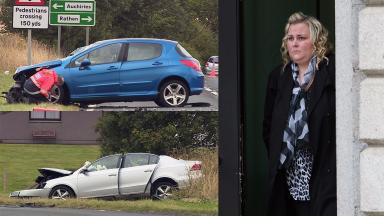 Collage of crash on A90 in 2014 and Anna-Marie Strachan