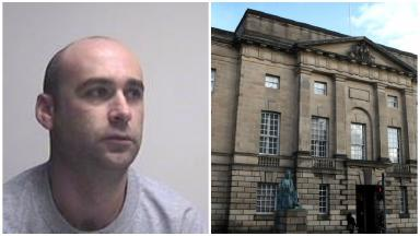 Ross Muir, rapist, and High Court Edinburgh. Police collect pic.