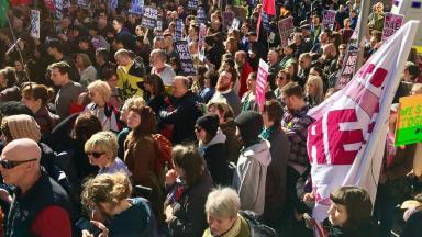 Anti-fascist counter-demo in Edinburgh.