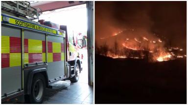 Fire in heathland near Arisaig, Loch Ailort, Polnish. March 28 2017