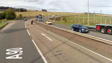 A90 at Bridge of Muchalls. Cyclist in crash with bus on March 29 2017