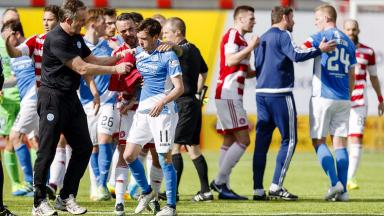 Danny Swanson of St Johnstone being sent off after fight at Hamilton match