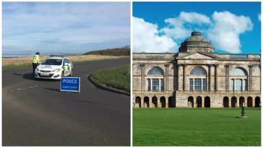Gosford House in East Lothian, road closed off as remains found.