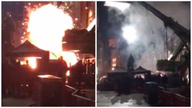 Collage, explosion on Royal Mile during Avengers: Infinity War filming. April 2 2017