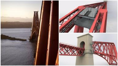 Collage showing plans for viewing platform and walkway on top of Forth Bridge. April 4 2017