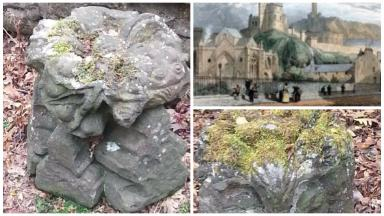 Collage showing medieval stones stolen from Astley Ainslie hospital. Originally from Trinity Collegiate Church.