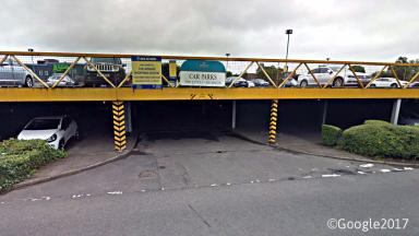 Car park of the Avenue shopping centre in Newton Mearns, East Renfrewshire