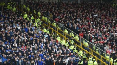 Aberdeen and Rangers fans at Pittodrie during Scottish Premiership game in April 2017