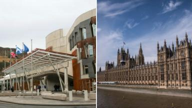 Composite of Holyrood Scottish Parliament and Houses of Parliament Westminster