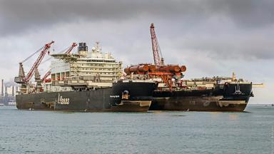 Pioneering Spirit, huge vessel used for oil rig decommissioning.