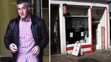 Alan Clements and City Barbers in Stirling where he exposed himself after Christmas day out.