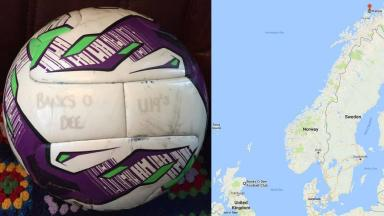 Banks o Dee football club U19 team ball ends up in Vanna north coast Norway