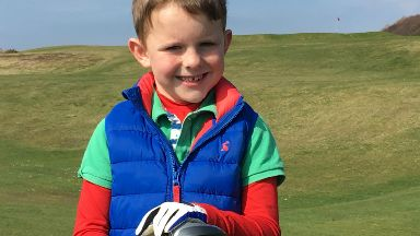 Jack Dunn, 6, boy who scored a hole in one at Brunstfield Links Golfing Society. PR image.