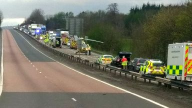 Fatal crash involving three vehicles on the A9 at Keir roundabout April 20 2017