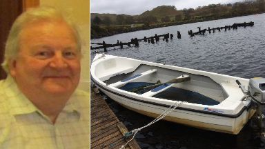 Composite of missing Joachim Brolly and the boat he got into.