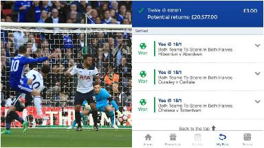 Collage of £20K winning bet from Hawick punter Lewis Alliot. Accumulator came in when Chelsea's Eden Hazard scored.