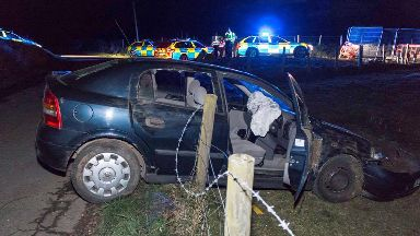 Vauxhall Astra crashed into fence after chase on A90 in April 2017. Used with permission