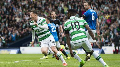 Callum McGregor celebrates scoring goal for Celtic against Rangers