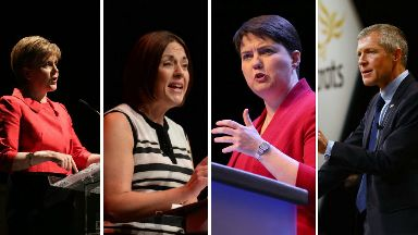Scottish party leaders composite - SNP's Nicola Sturgeon, Labour's Kezia Dugdale, Ruth Davidson of the Conservatives and Willie Rennie of the Liberal Democrats.