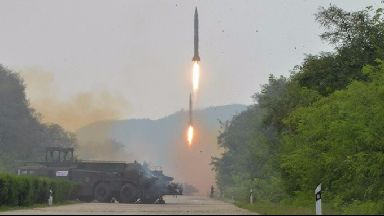 File photo of ballistic missiles being fired during a drill