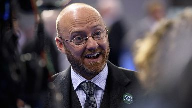 Patrick Harvie, co-convenor of the Scottish Green Party, reacts as the results of the local elections are announced at the Emirates Stadium in Glasgow.