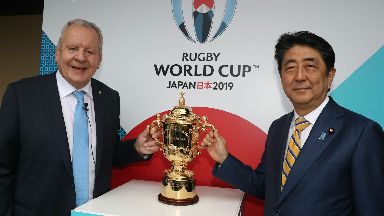 Bill Beaumont, World Rugby, and Prime Minister Shinzo Abe