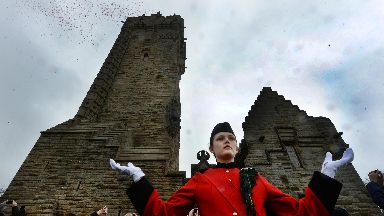 Arras poppy petal drop at Wallace Monument May 16 2017