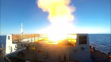HMS Diamond firing missile off Outer Hebrides
