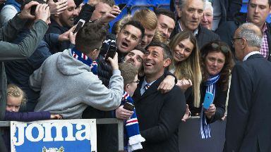 Pedro Caxinha enjoys full time with the Rangers fans.