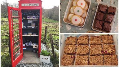 Cakes in the Call Box in Cladich, Argyll which could be Scotland's smallest cake shop