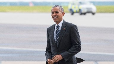 Barack Obama prepares to board Air Force One, at the Harrods Aviation Terminal, Stansted Airport - Stansted uploaded Thursday May 25 2017