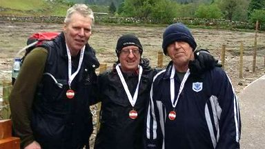 Charity climb: Tony Woodward (left) and Bob Archer (middle).