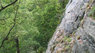 Climbing at Polney Crag, via Geograph
