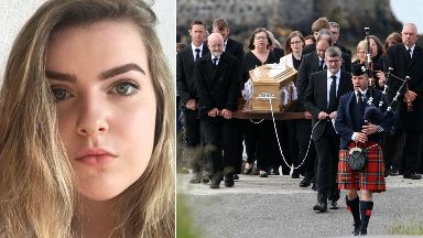 Funeral procession on Barra for Manchester terror attack victim of Eilidh MacLeod