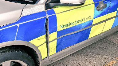 Police car damaged after chase in Dalkeith/Musselburgh in June 2017