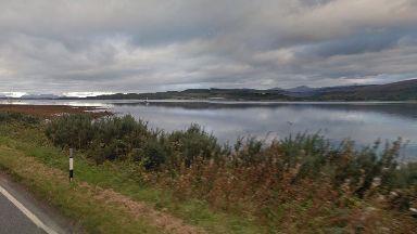 Crash: The car plunged into Loch Creran after the crash.