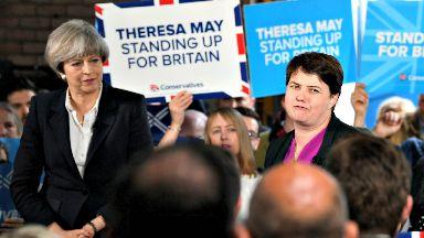 Theresa May and Ruth Davidson June 5, 2017