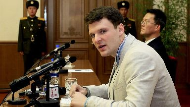 Otto Warmbier pictured in Pyongyang last year.