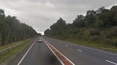 Crash: Two people are being cut free after a collision on the A9.