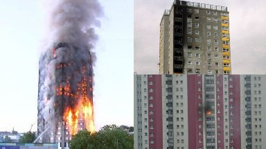 Collage of high-rise fires potentially linked to cladding. Grenfell Tower, 2017; Garnock Court, Ayrshire, 1999; and Charles Street, Glasgow, 2015.