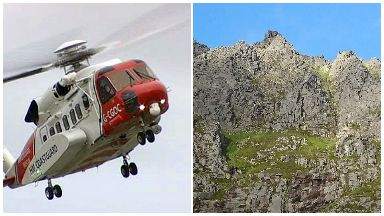 Helicopter rescue at Lurcher's Crag, Cairngorms. File pic and pic of scene.