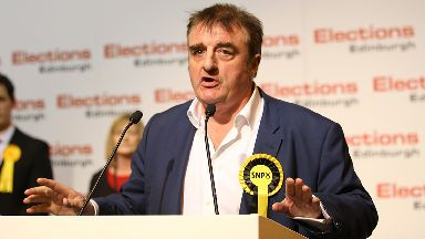 SNP candidate for Edinburgh East Tommy Sheppard is re-elected at Meadowbank Sports Centre in Edinburgh.