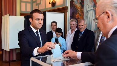 French President Emmanuel Macron votes in Le Touquet, northern France.